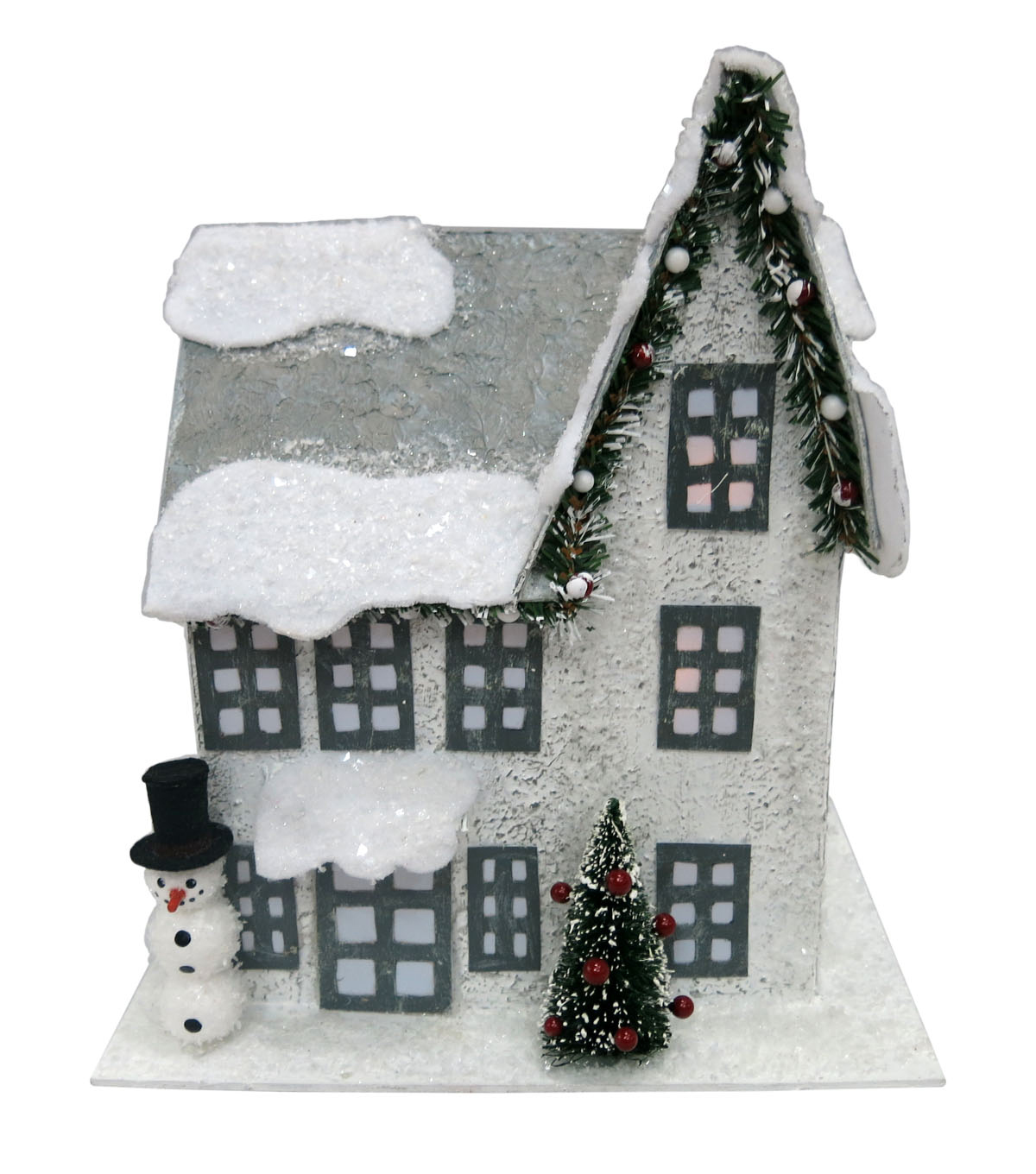 Maker's Holiday LED Paper House With Snowman-White
