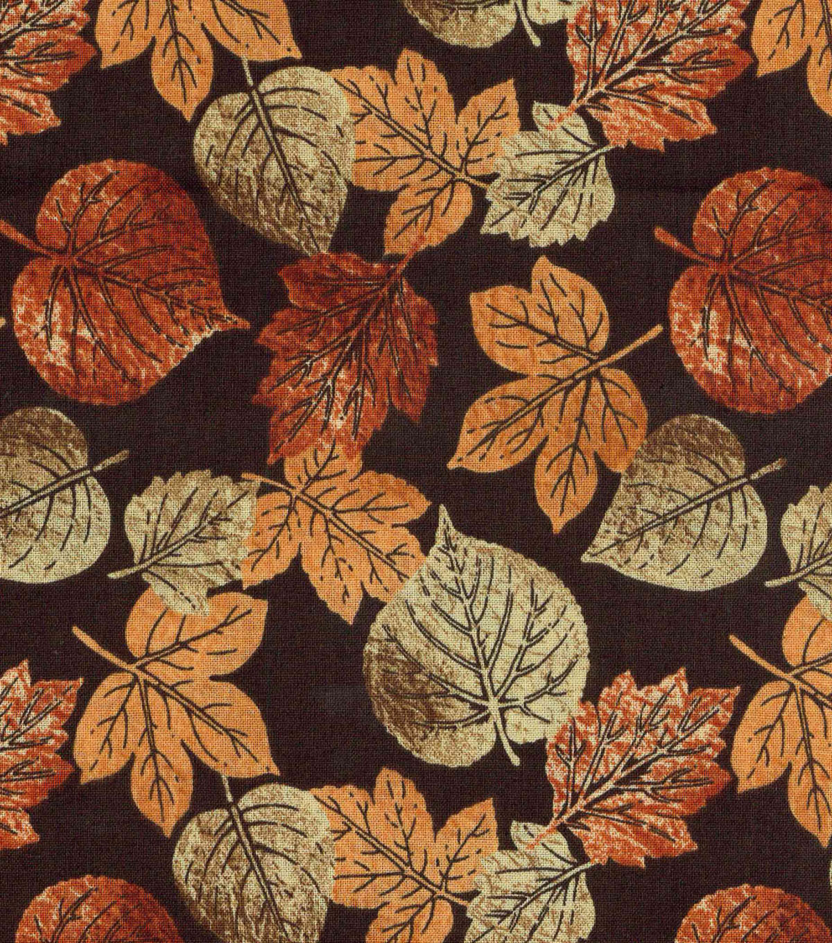 "Harvest Cotton Fabric 43""-Rustic Leaves"