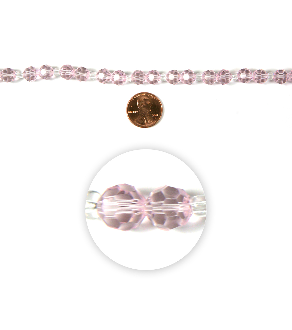 Blue Moon Strung Machine Cut Crystal Beads,Round,Light Pink,Facetted