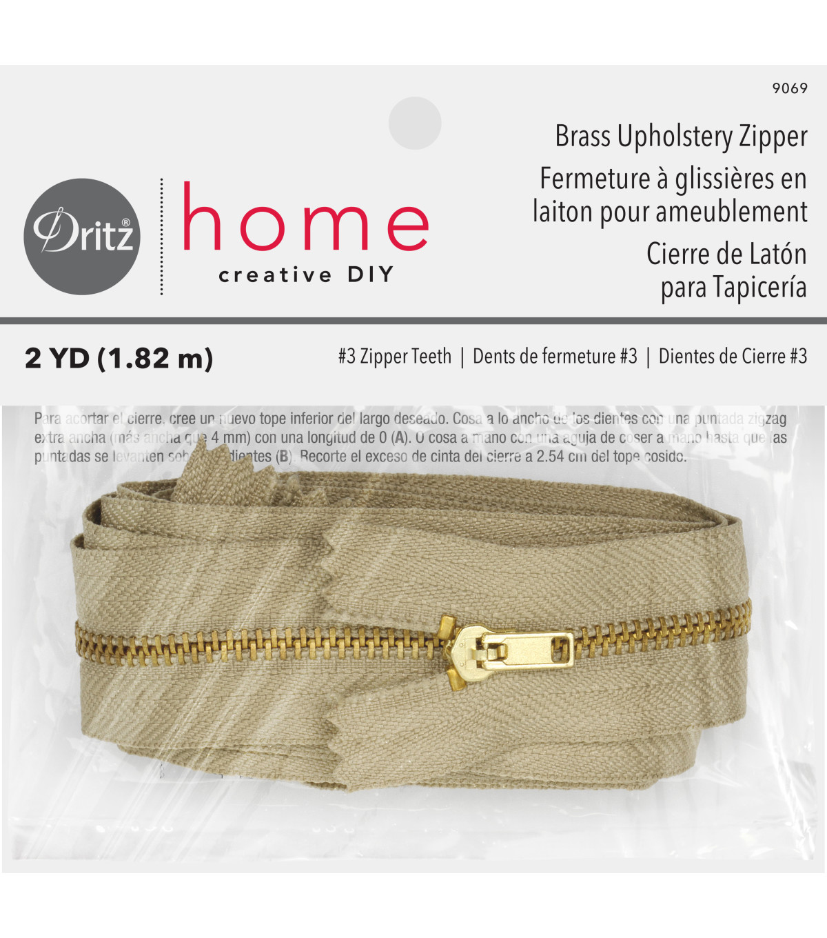 "Dritz Home Brass Zipper Chain 0.56""x72"""