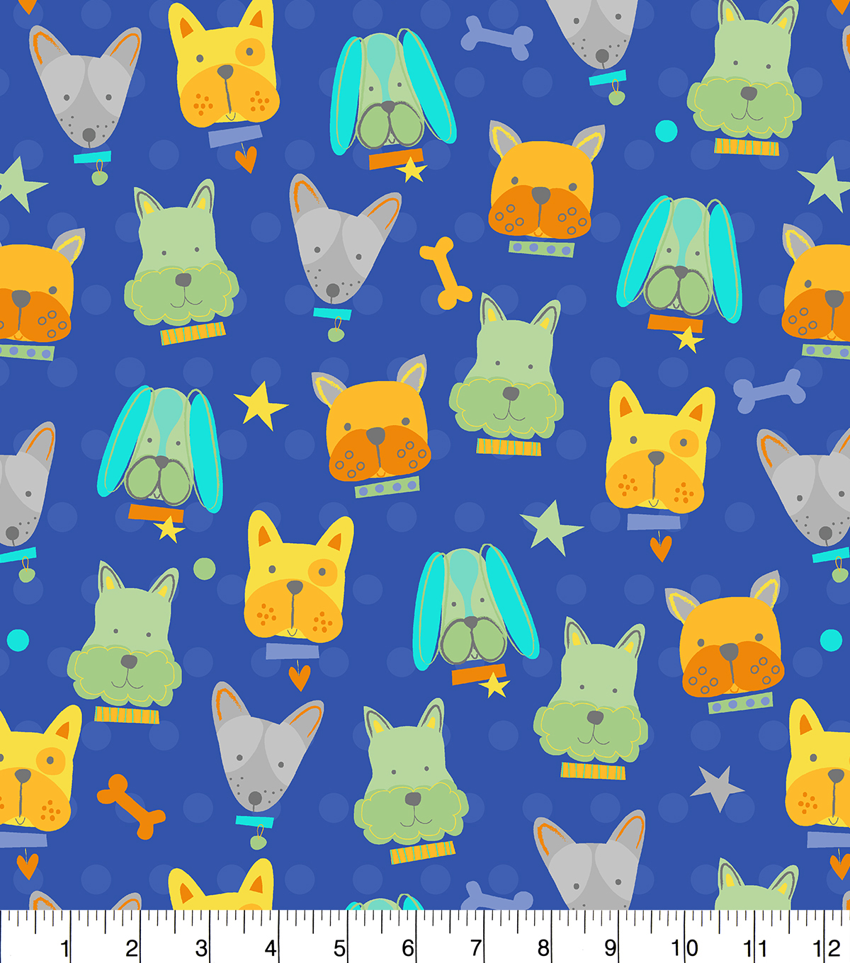 Easy Wash & Care Fabric-Dog Faces And Bones Blue