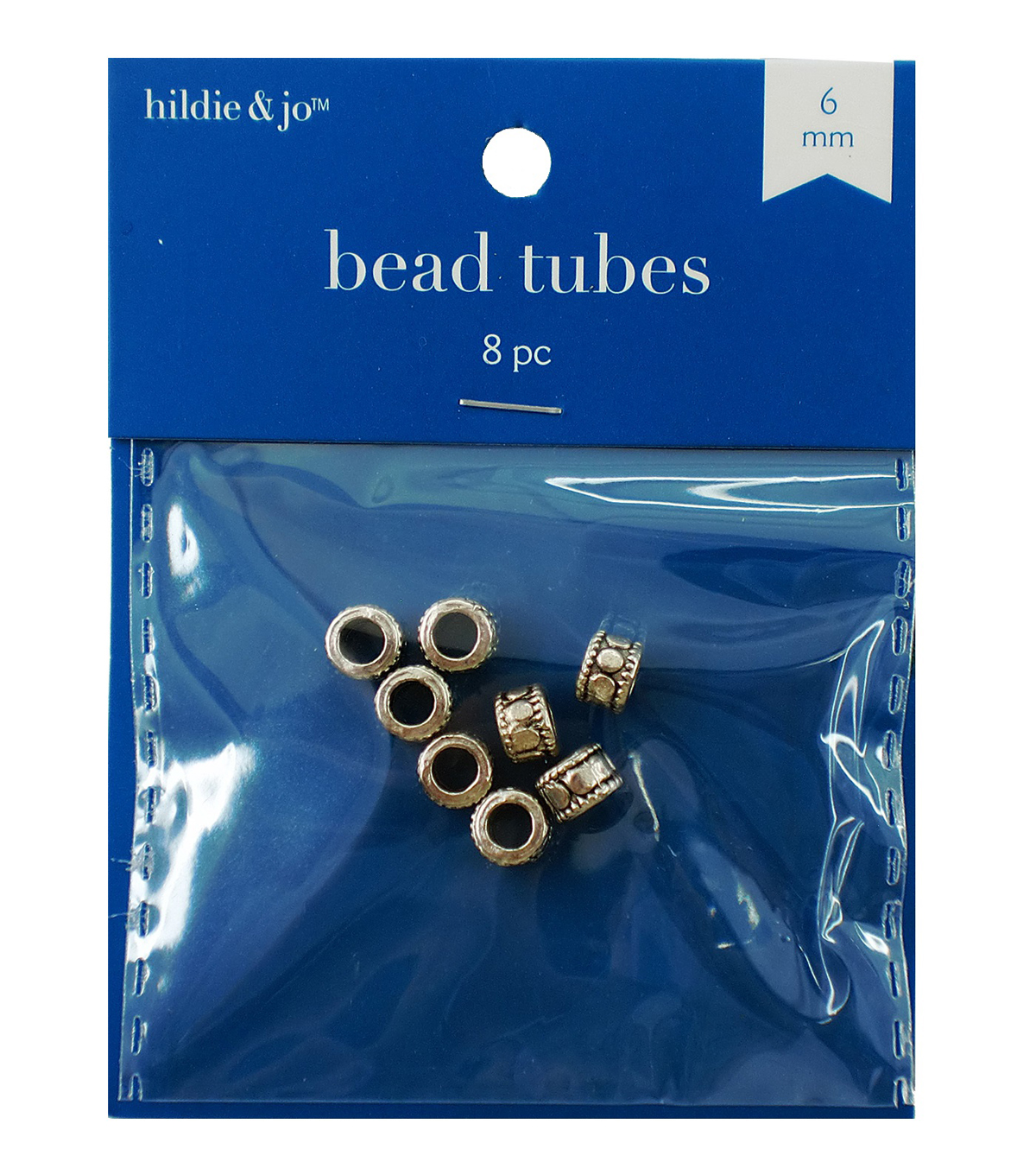 6mm Cast Tube Beads, Antique Silver