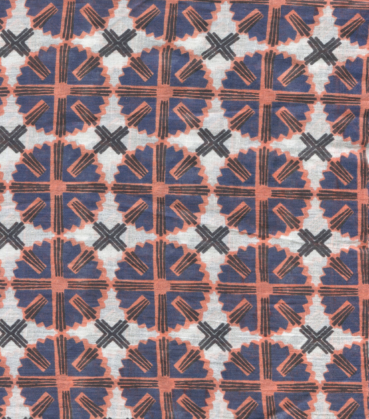 Ethnic Cotton Fabric-Circle Geo Multi