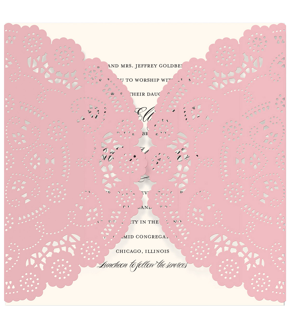 Anna Griffin Pink Diecut Square Gatefold Custom Invitation