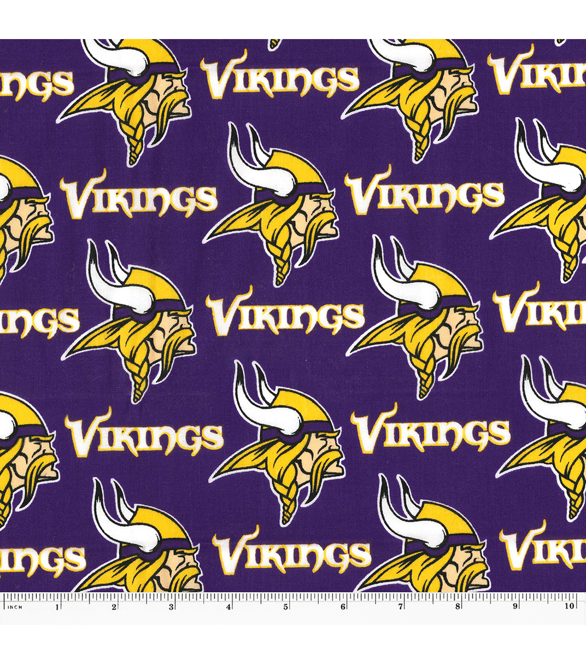"Minnesota Vikings Cotton Fabric 58""-Mascot Logo"