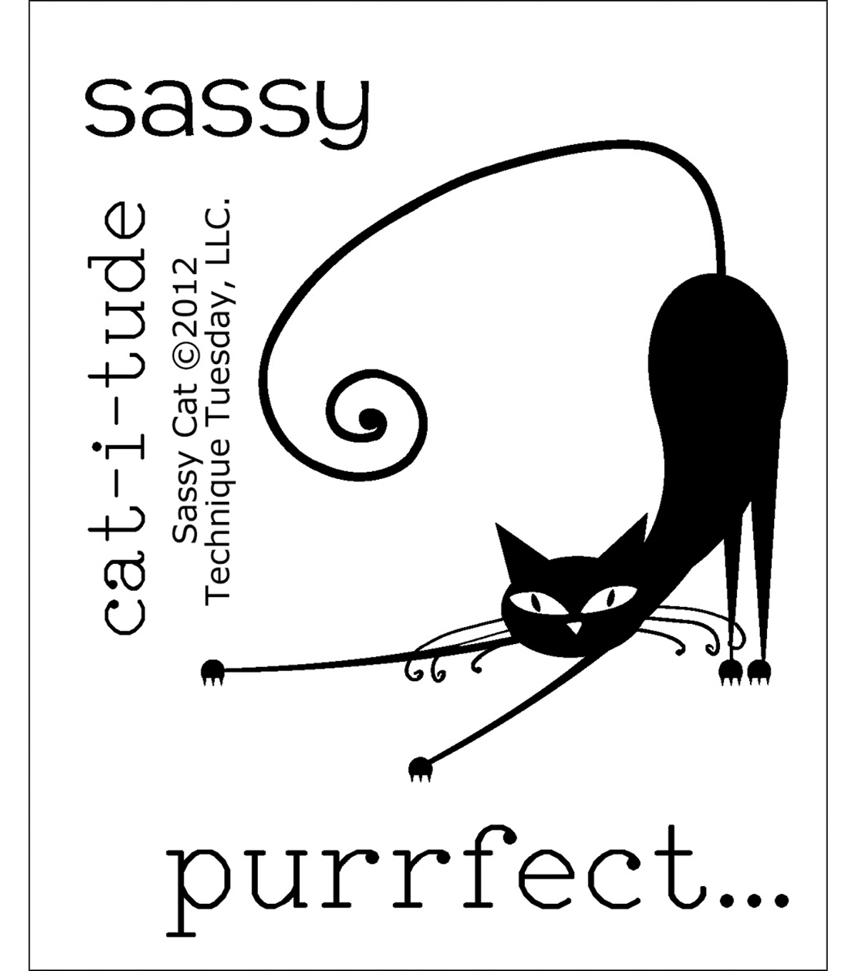 "Clear Stamps 2""X2.5""-Sassy Cat"
