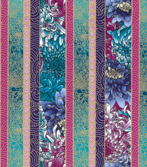 "Asian Inspired Cotton Fabric 43""-Asian Floral Stripe Metallic"