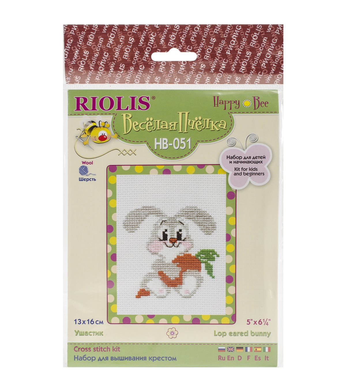 Riolis 5''x6.25'' Counted Cross Stitch Kit-Lop-Eared Bunny