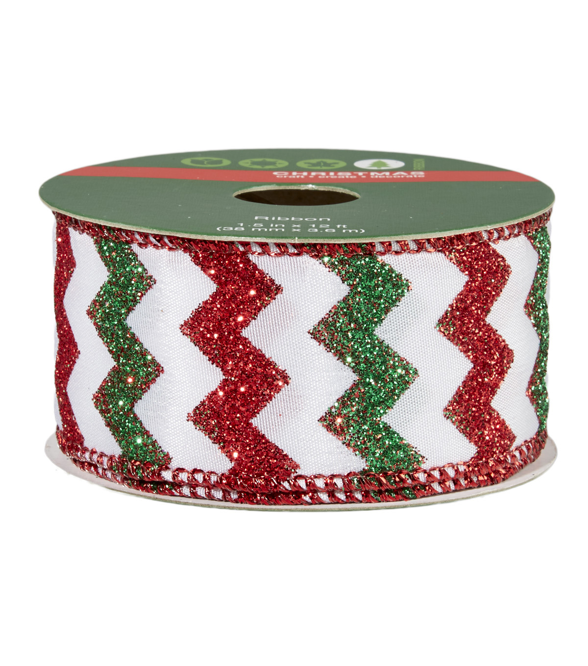 Christmas Ribbon 1.5 in x 12 ft Wire Edge - Red Green Chevron