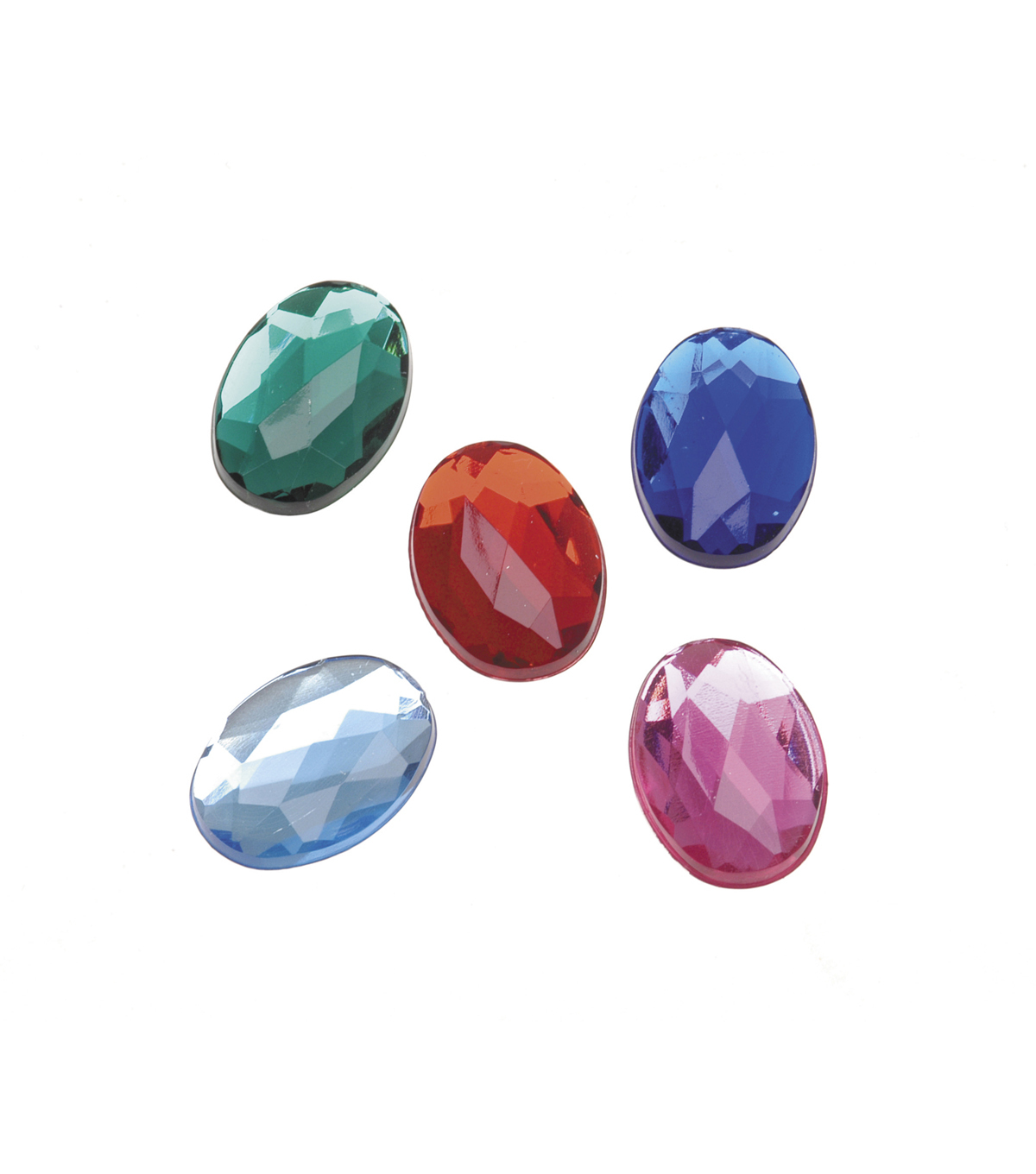 Oval Acrylic Rhinestones, Assorted Colors, 13 x 18mm