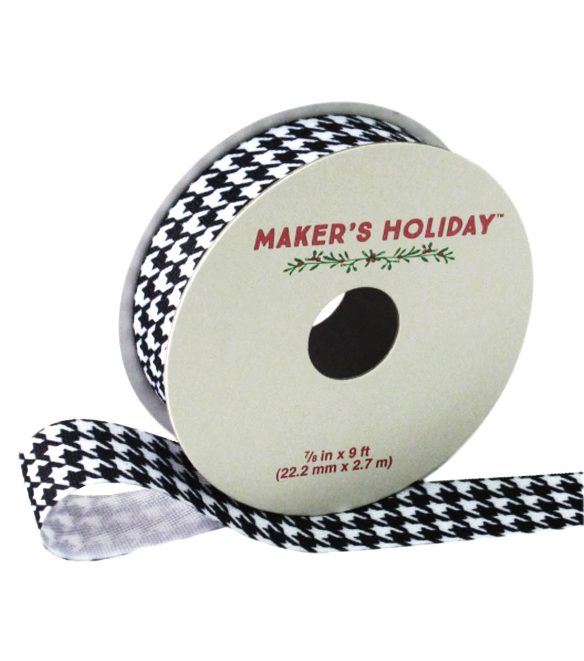 Maker\u0027s Holiday Ribbon 7/8\u0027\u0027x9\u0027-Black & White Houndstooth