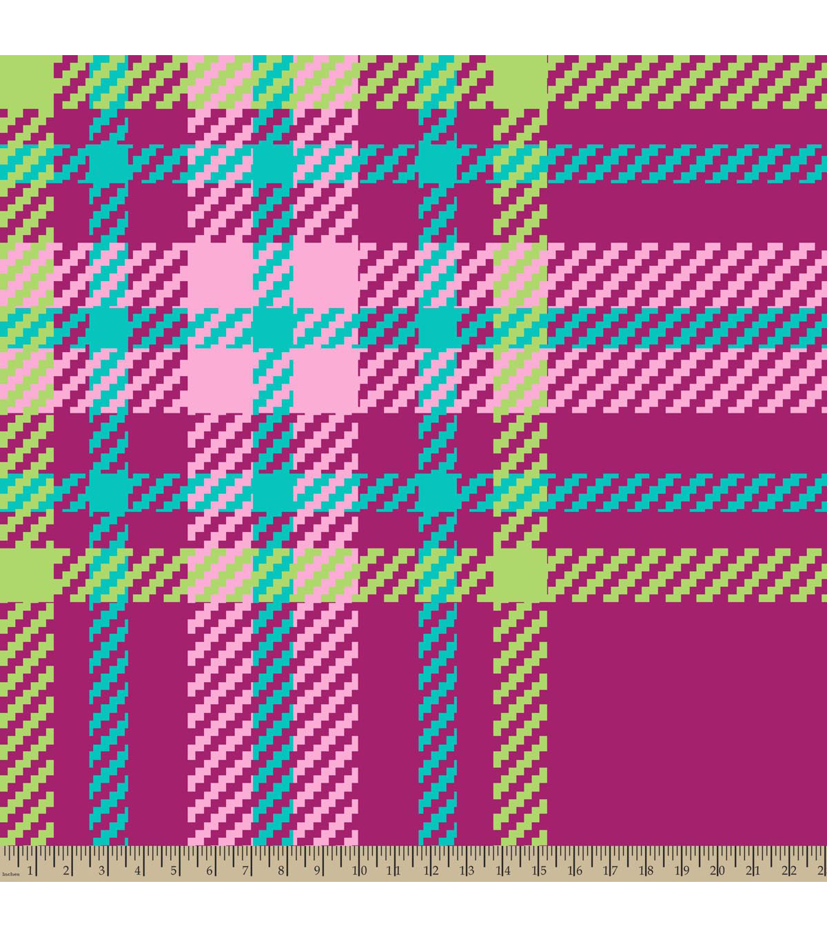 Blizzard Fleece Fabric-Hot Pink Regan Plaid