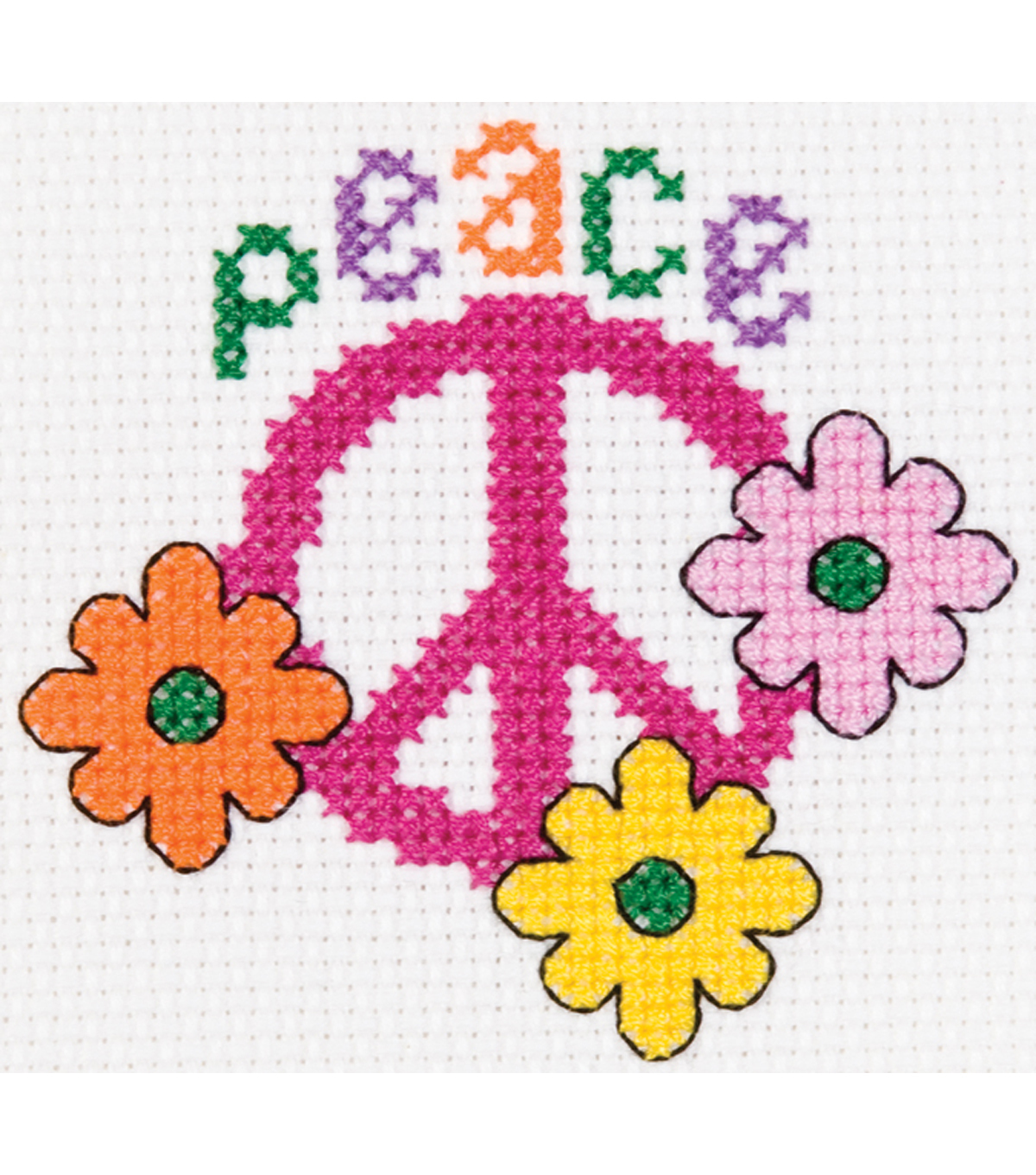 "My 1st Stitch Peace Mini Counted Cross Stitch Kit-3"" Round 14 Count"