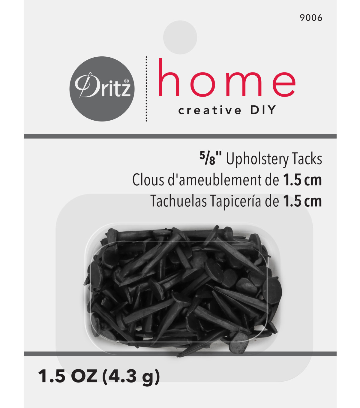 Dritz Home 0.63\u0022 Upholstery Steel Tacks #10 1.5oz Black