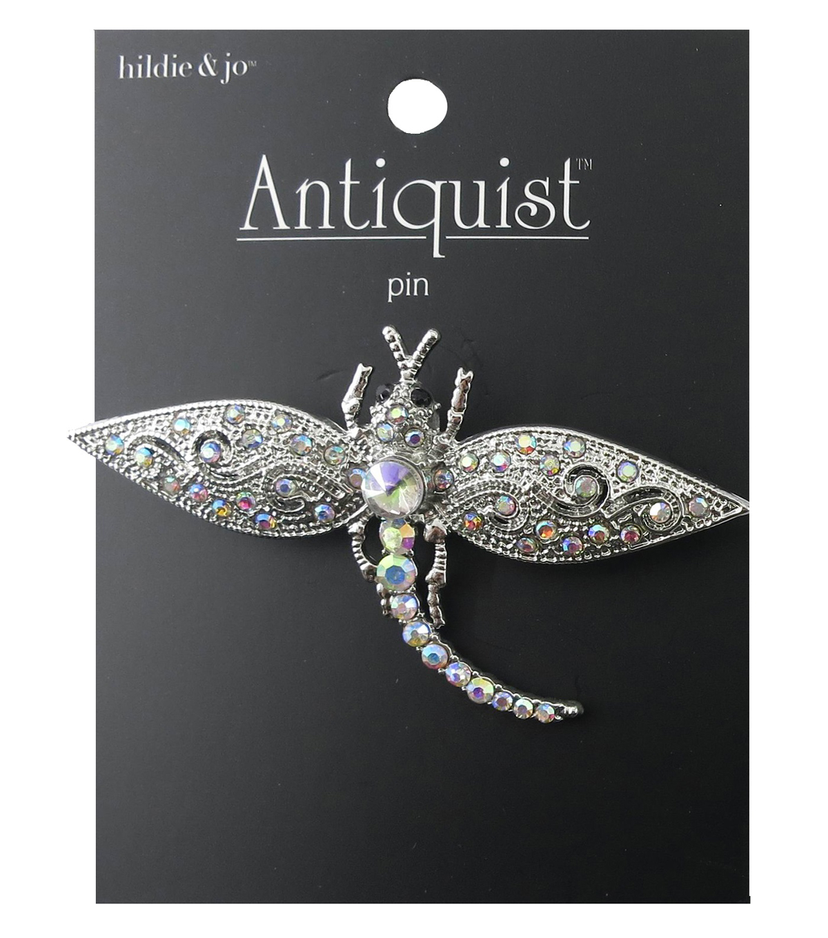 hildie & jo™ Antiquist Dragonfly Silver Pin-Iridescent Crystals