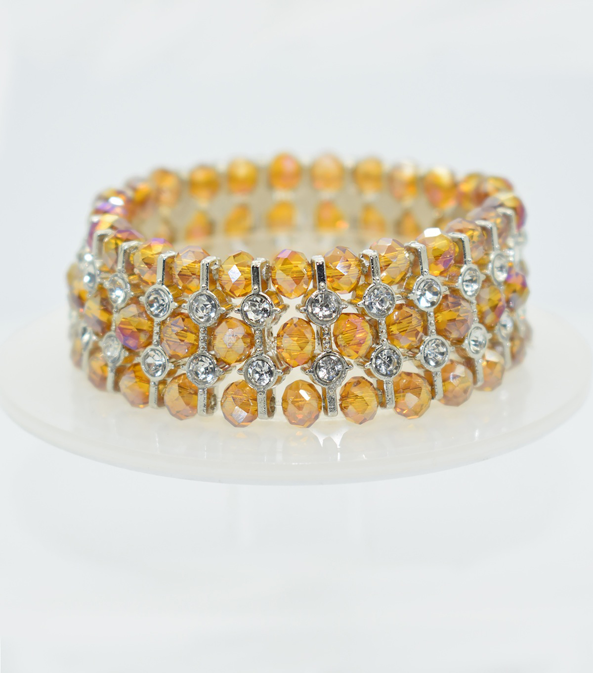 Glass Beads Spacer Bracelet-Shaded Topaz