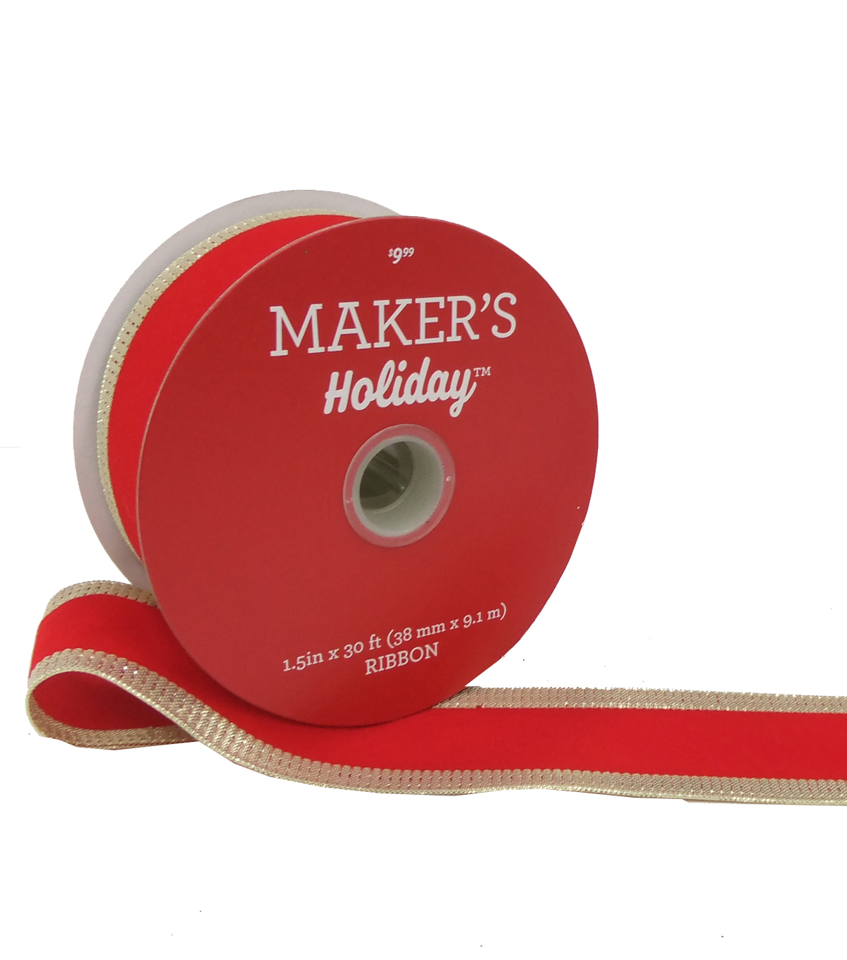 Maker's Holiday Christmas Ribbon 1.5''x30'-Red Velvet with Large Gold