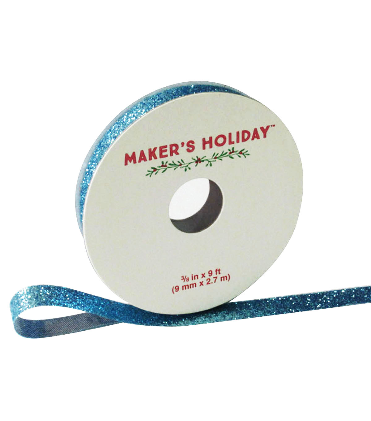 Maker's Holiday Ribbon 3/8''x9'-Ice Blue Glitter