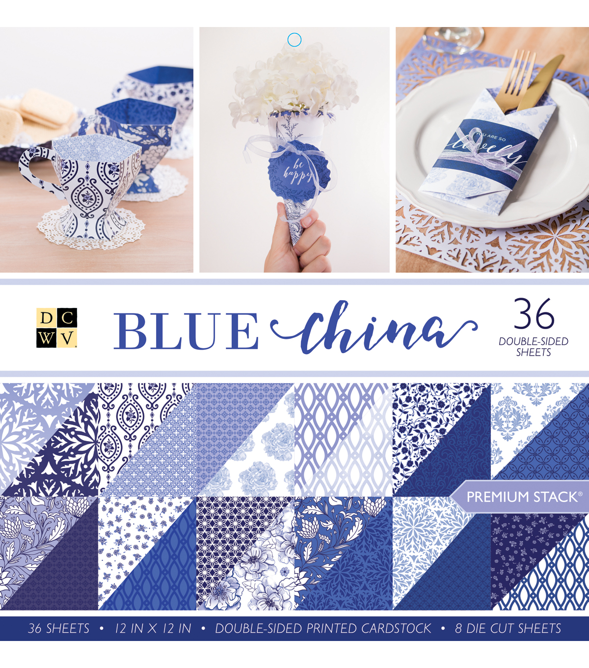 DCWV Pack of 36 12\u0027\u0027x12\u0027\u0027 Premium Printed Cardstock Stack-Blue China