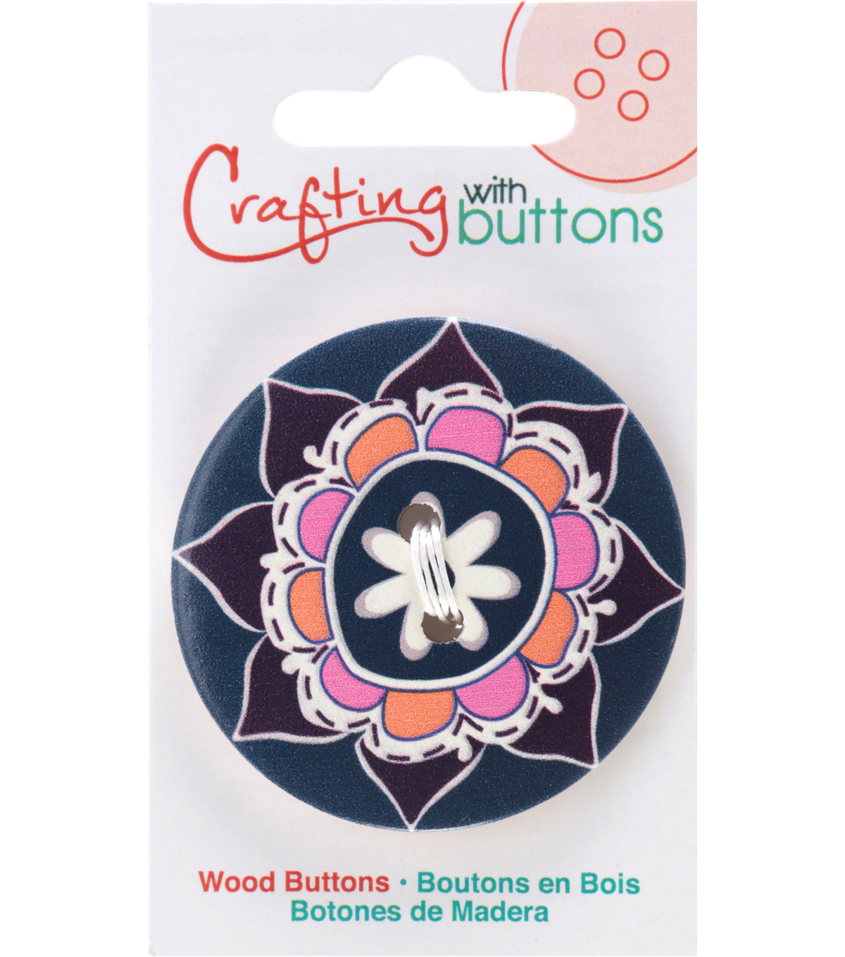 Crafting with Buttons Global Chic 1.75\u0027\u0027 Wood Button-Morocco
