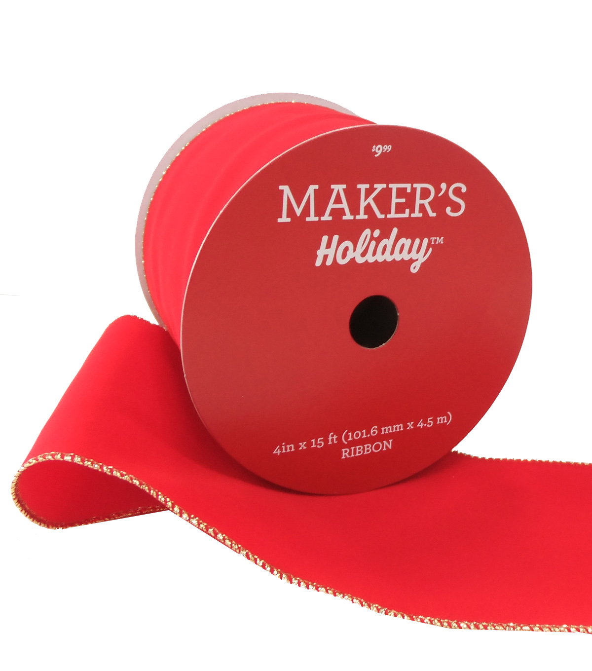 Maker's Holiday Christmas Velvet Ribbon 4''x15'-Red with Gold Edge