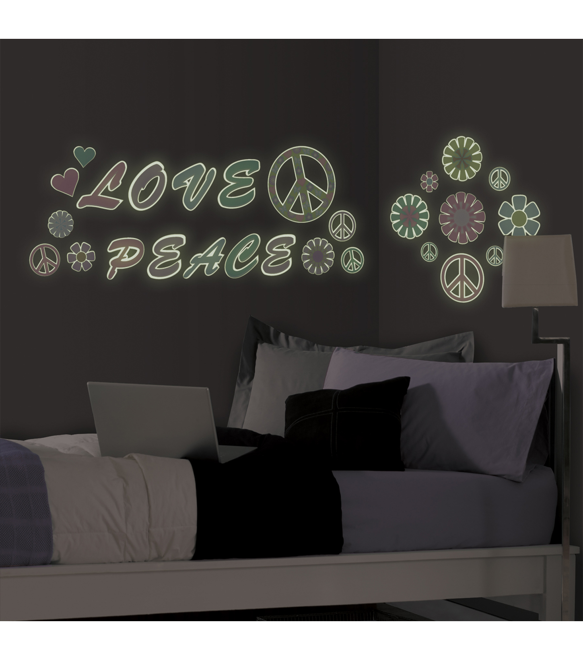 Wall Pops Glow in the Dark Peace Love Appliques, 27 Piece Set