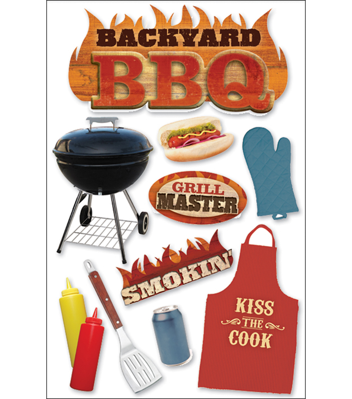 Paper House 3-D Sticker-BBQ