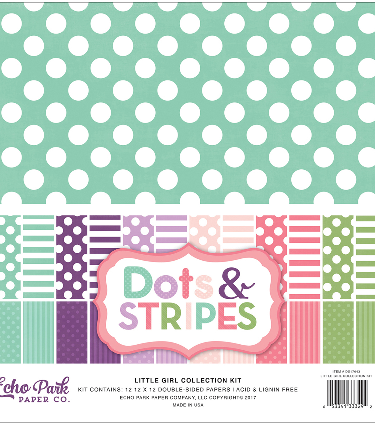 Double-Sided Collection Pack 12\u0022X12\u0022-Little Girl Dots & Stripes