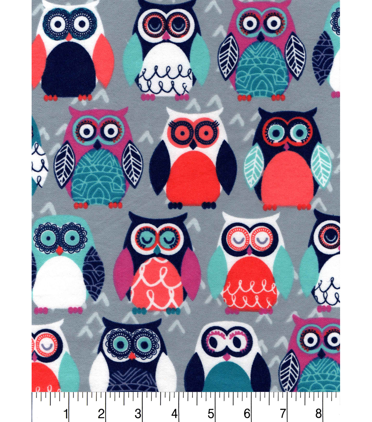 "Snuggle Flannel Fabric 42""-Colorful Owls On Gray"