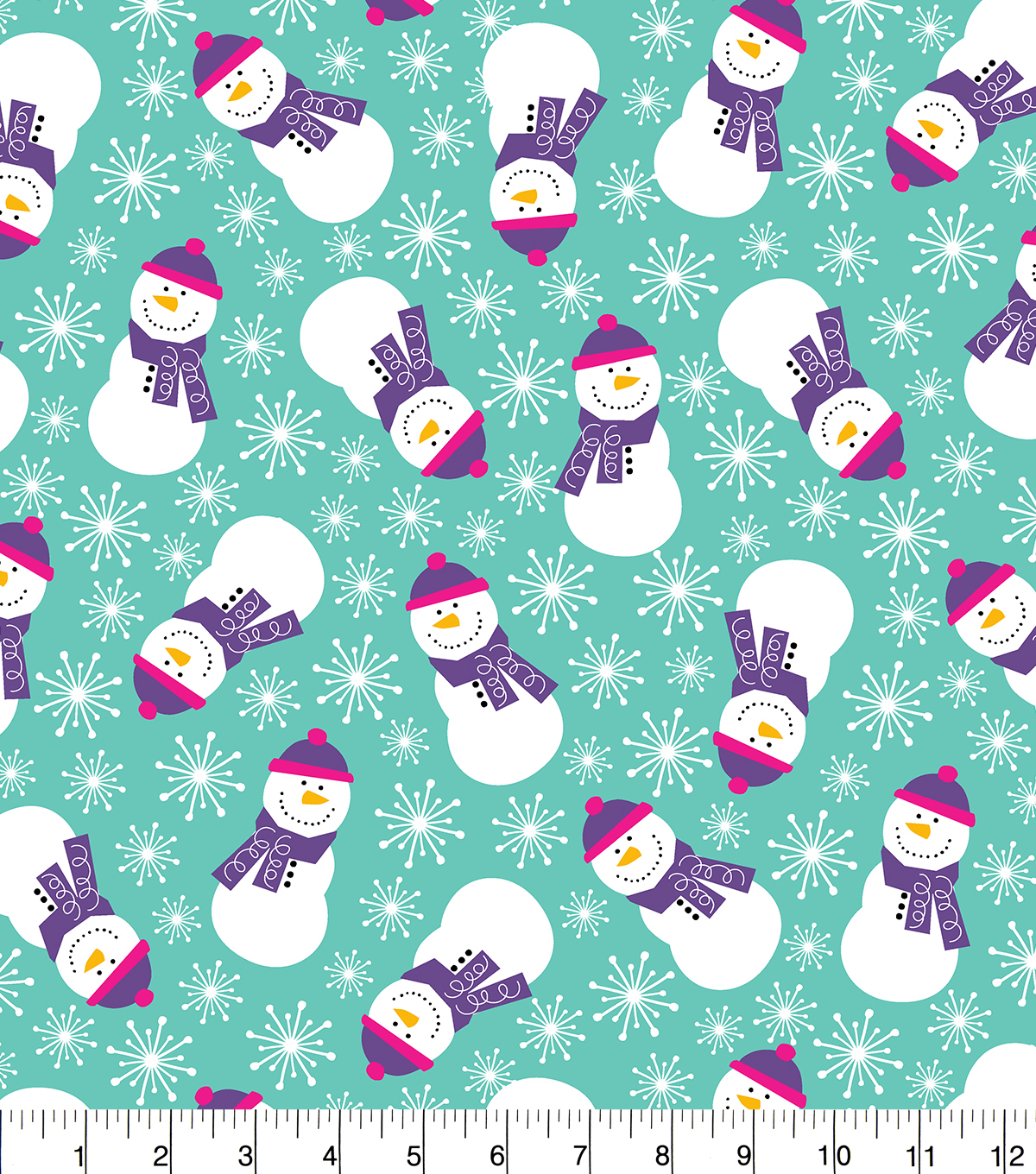 Snuggle Flannel Fabric 42''-Purple Scarf Snowmen