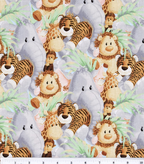 Nursery Cotton Fabric 44\u0022-Jungle Baby Animals