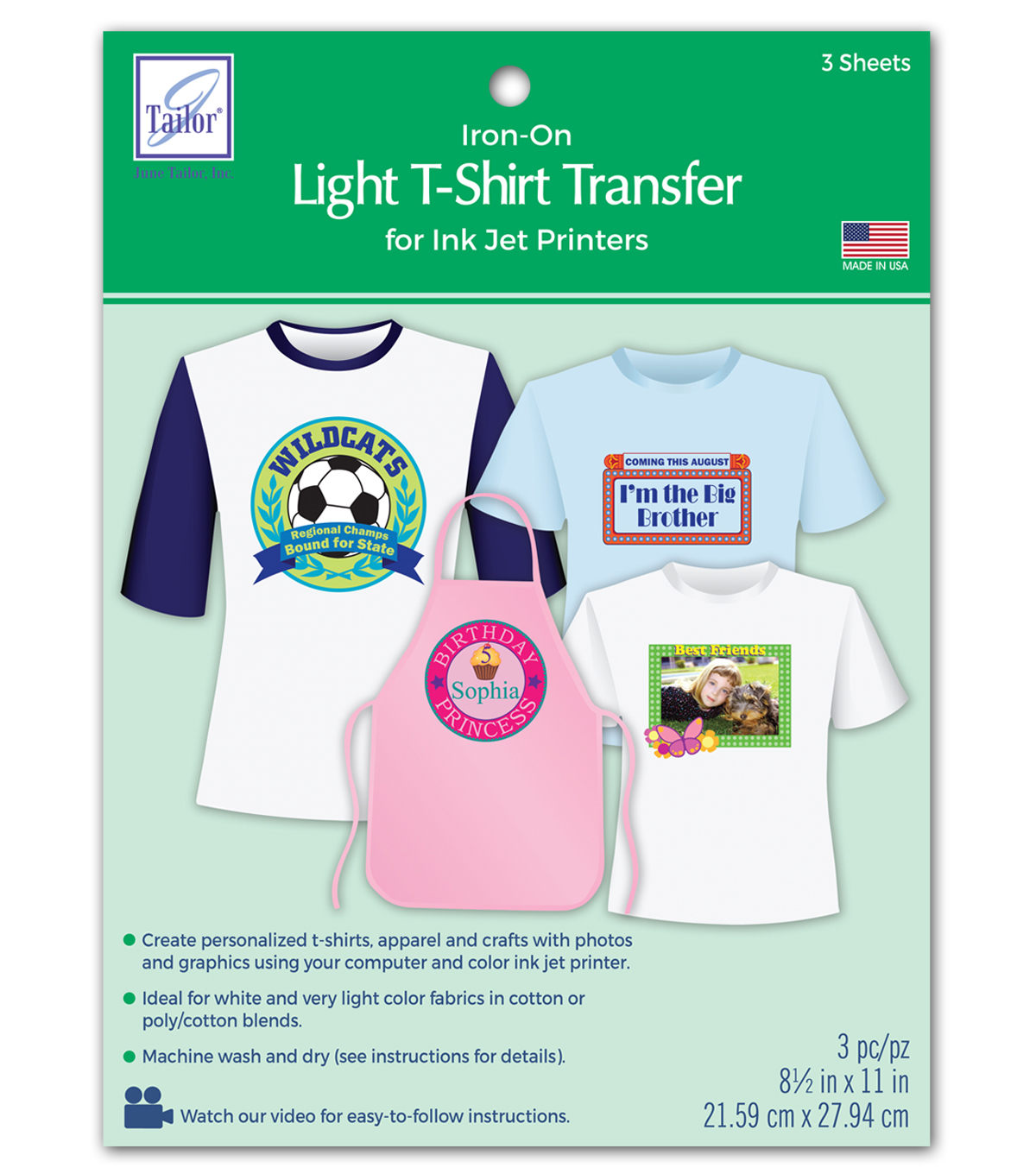 June Tailor Light T-Shirt Transfer Paper 3/Pkg