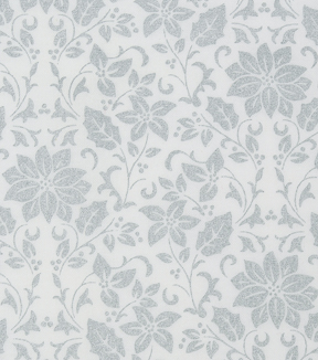 Christmas Cotton Fabric 43\u0022-Metallic Poinsettia Vines