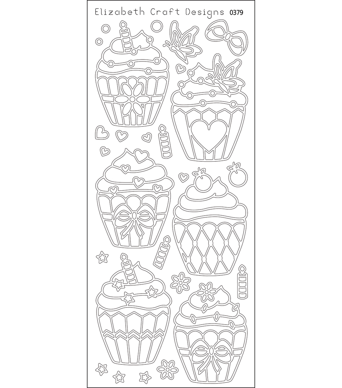 "Cup Cakes Peel Off Stickers 4""X9"" Sheet-Black"