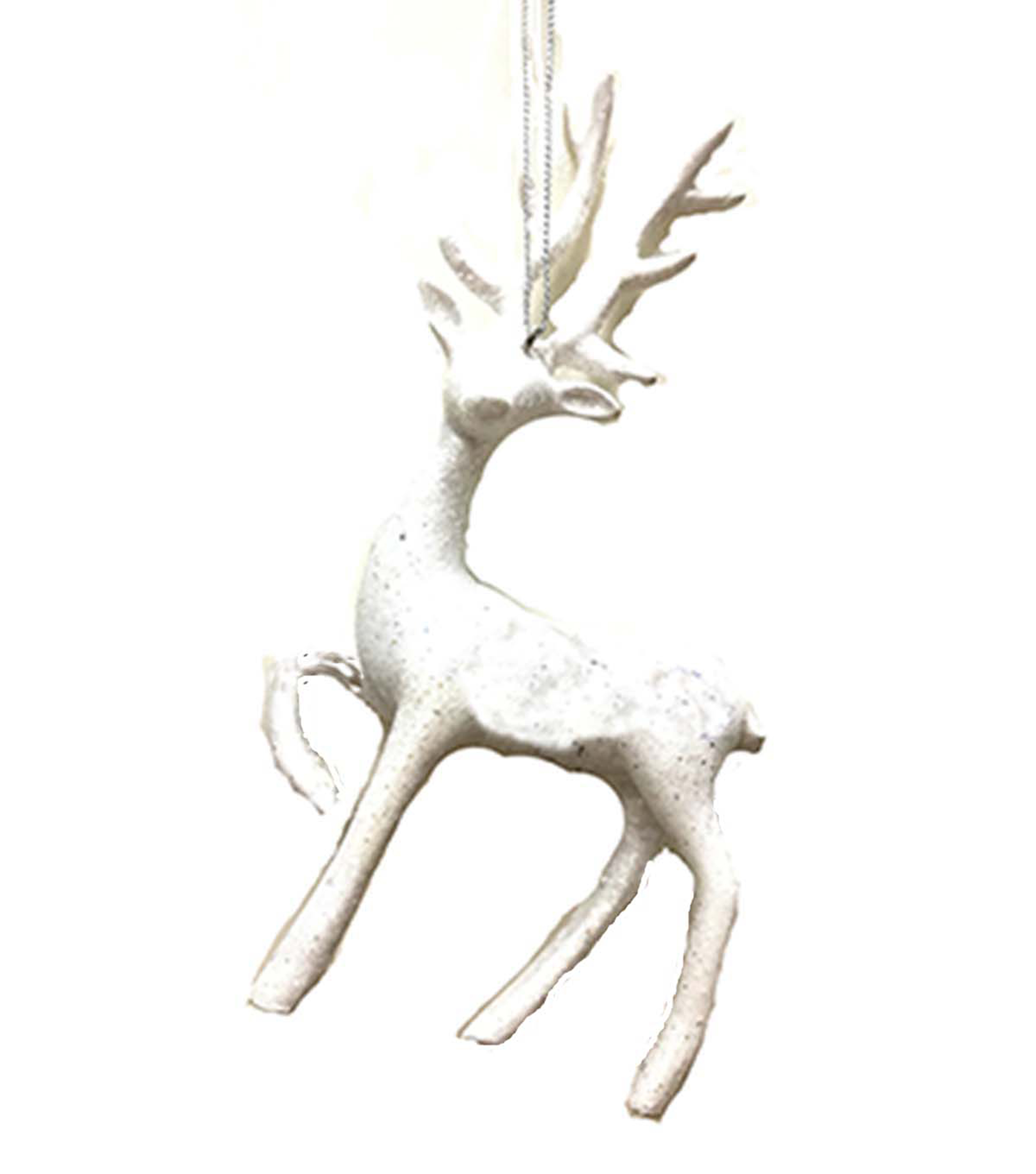 Maker\u0027s Holiday Christmas Arctic Frost Deer Ornament-White