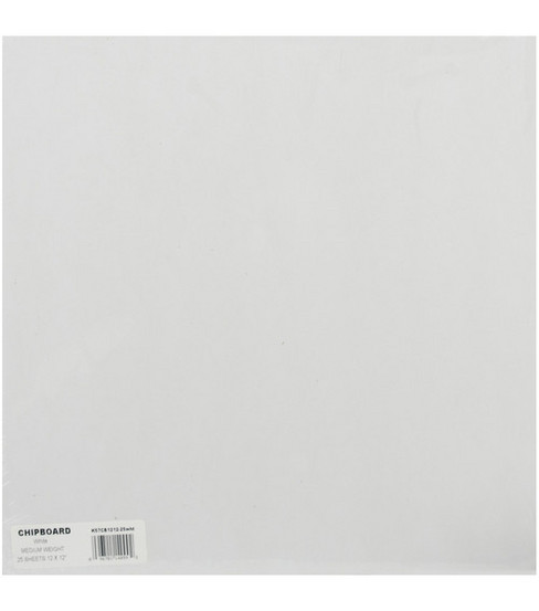 Grafix 12\u0022x12\u0022 Medium Weight Chipboard Sheets-25PK/White