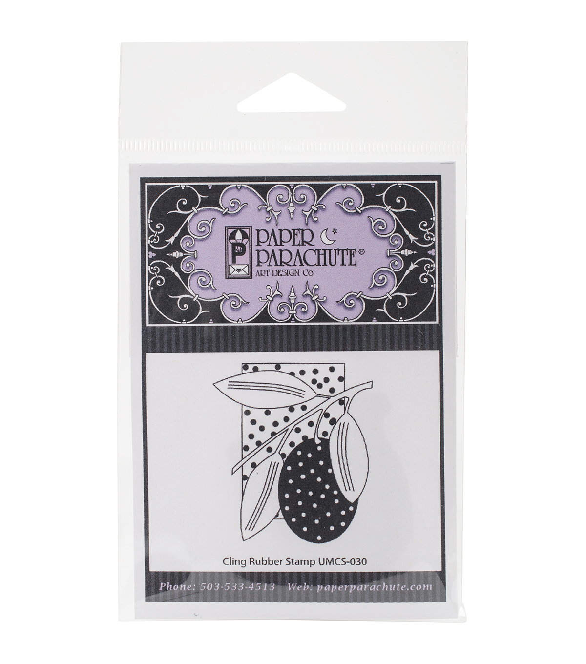 Paper Parachute Cling Rubber Stamps-Polka Dot Plum