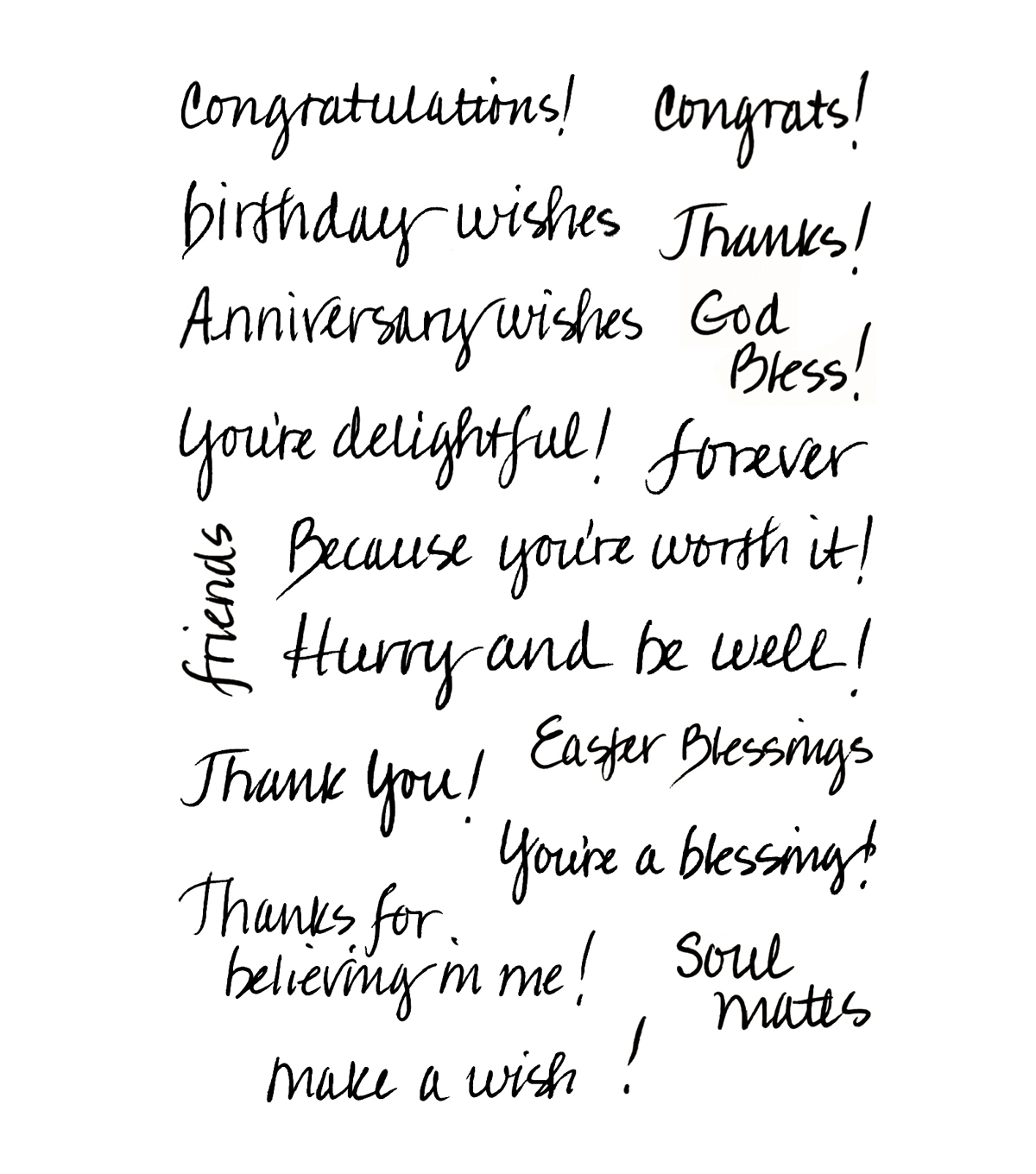 My Sentiments Exactly Clear Stamps 4\u0022X6\u0022 Sheet-Handwritten Sentiments