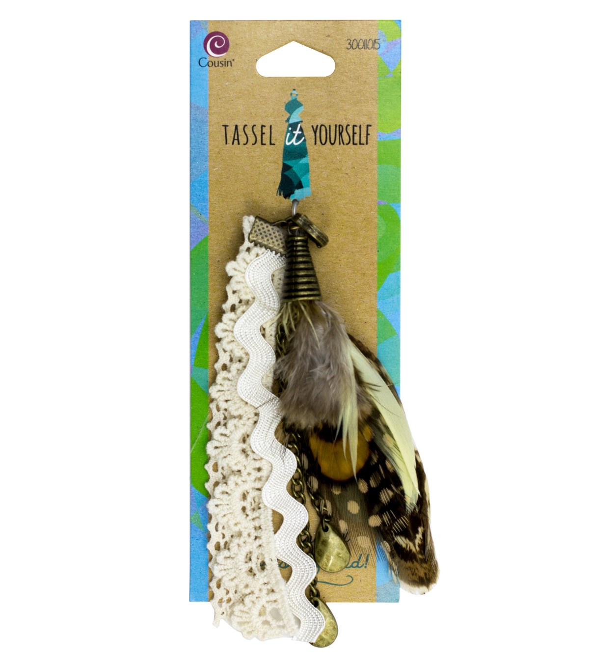 Cousin® Tassel It Yourself Antique Feather Tassel-White & Gold
