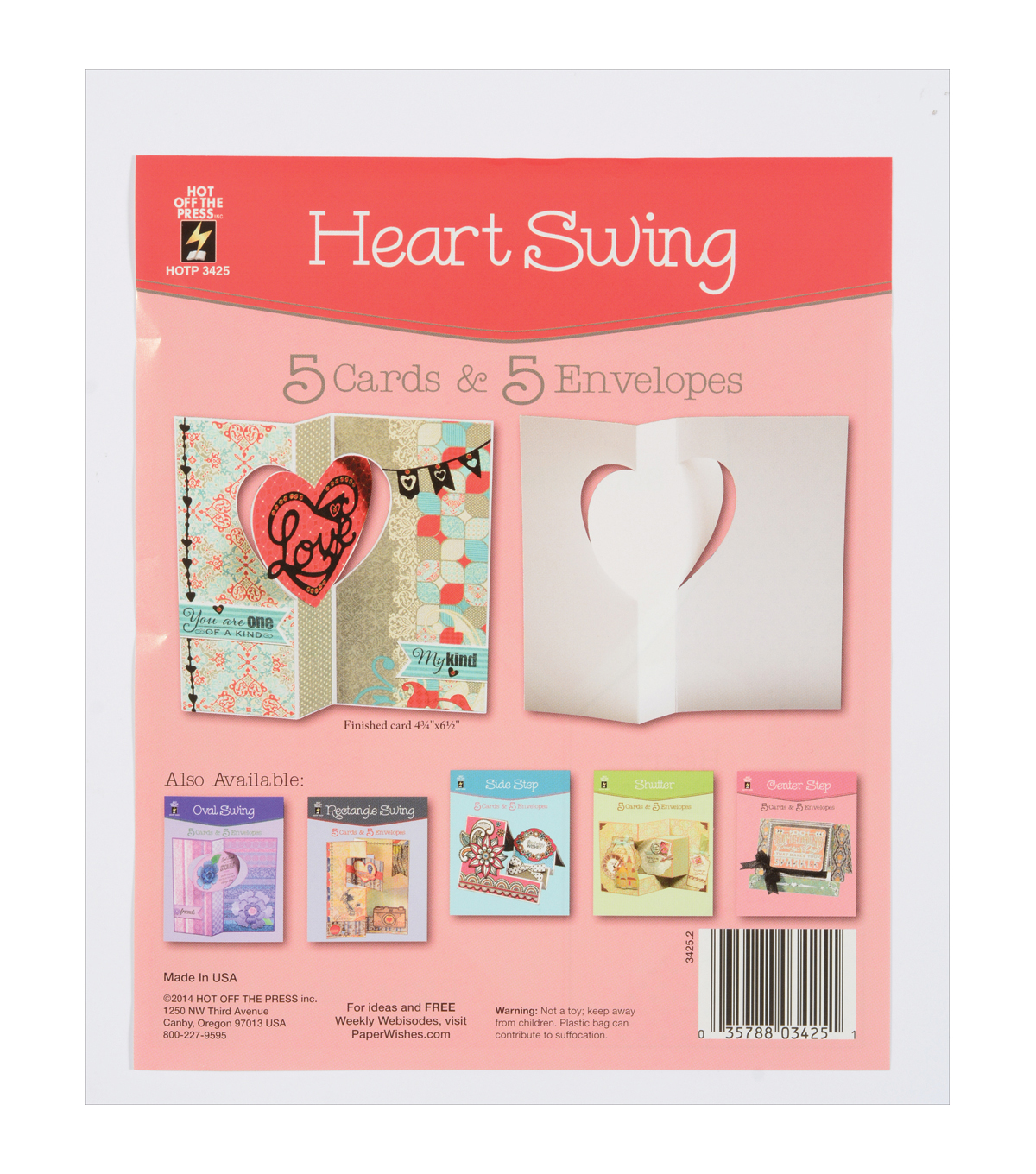 Hot Off The Press Heart Swing Die-Cut Cards With Envelopes