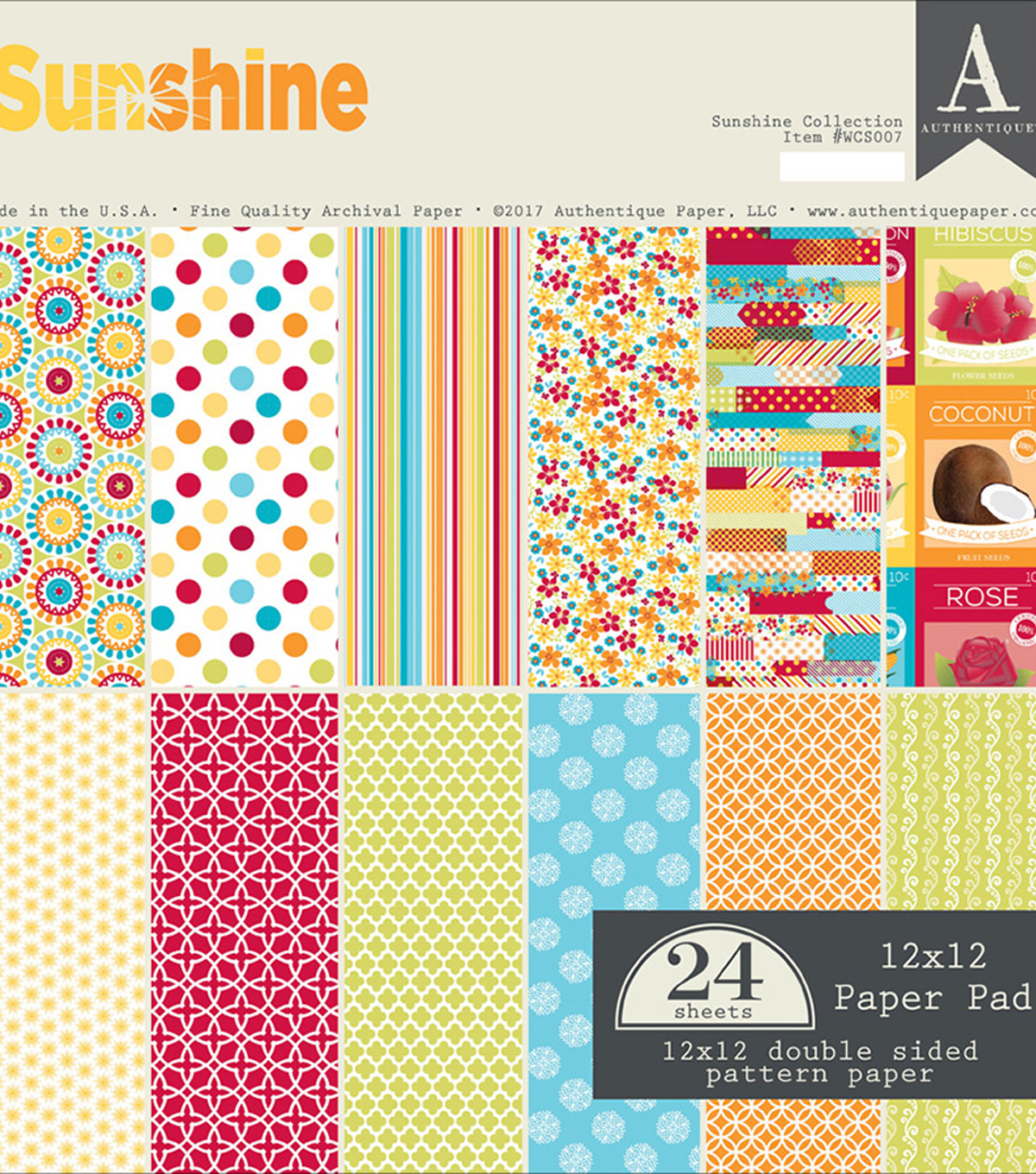 Authentique Double-Sided Cardstock Pad 12\u0022X12\u0022-Sunshine 12 Designs