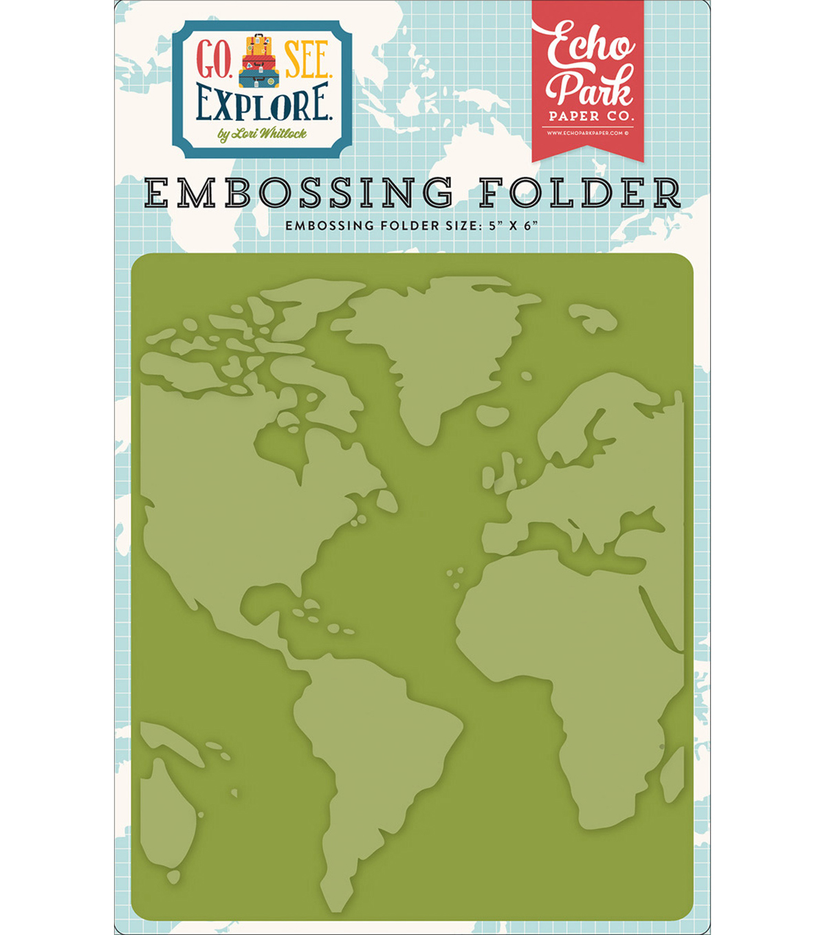 "Embossing Folder 5""X5.8""-Go, See, Explore; Around The World"