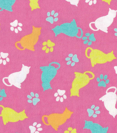 "Snuggle Flannel Fabric 42""-Tossed Cats"