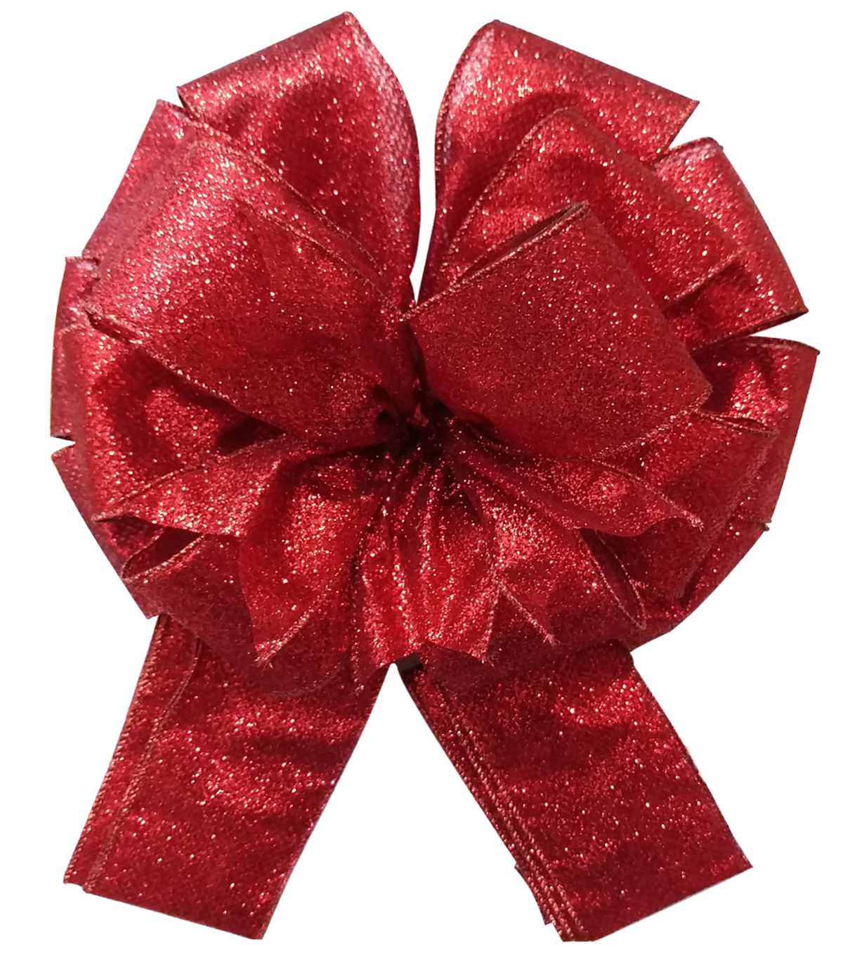 Maker\u0027s Holiday Tree Topper Bow-Red Glitter