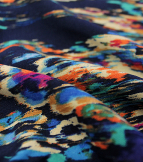 Silky Prints Rayon Abstract Floral Blue