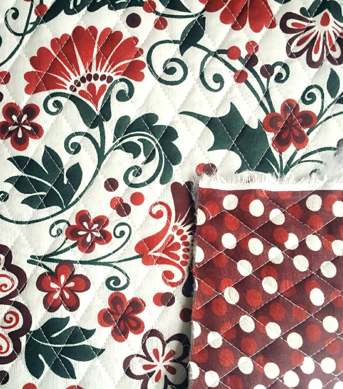 Holiday Inspirations™ Christmas Double-Faced Quilt Fabric-Holly ... : double faced quilt fabric - Adamdwight.com