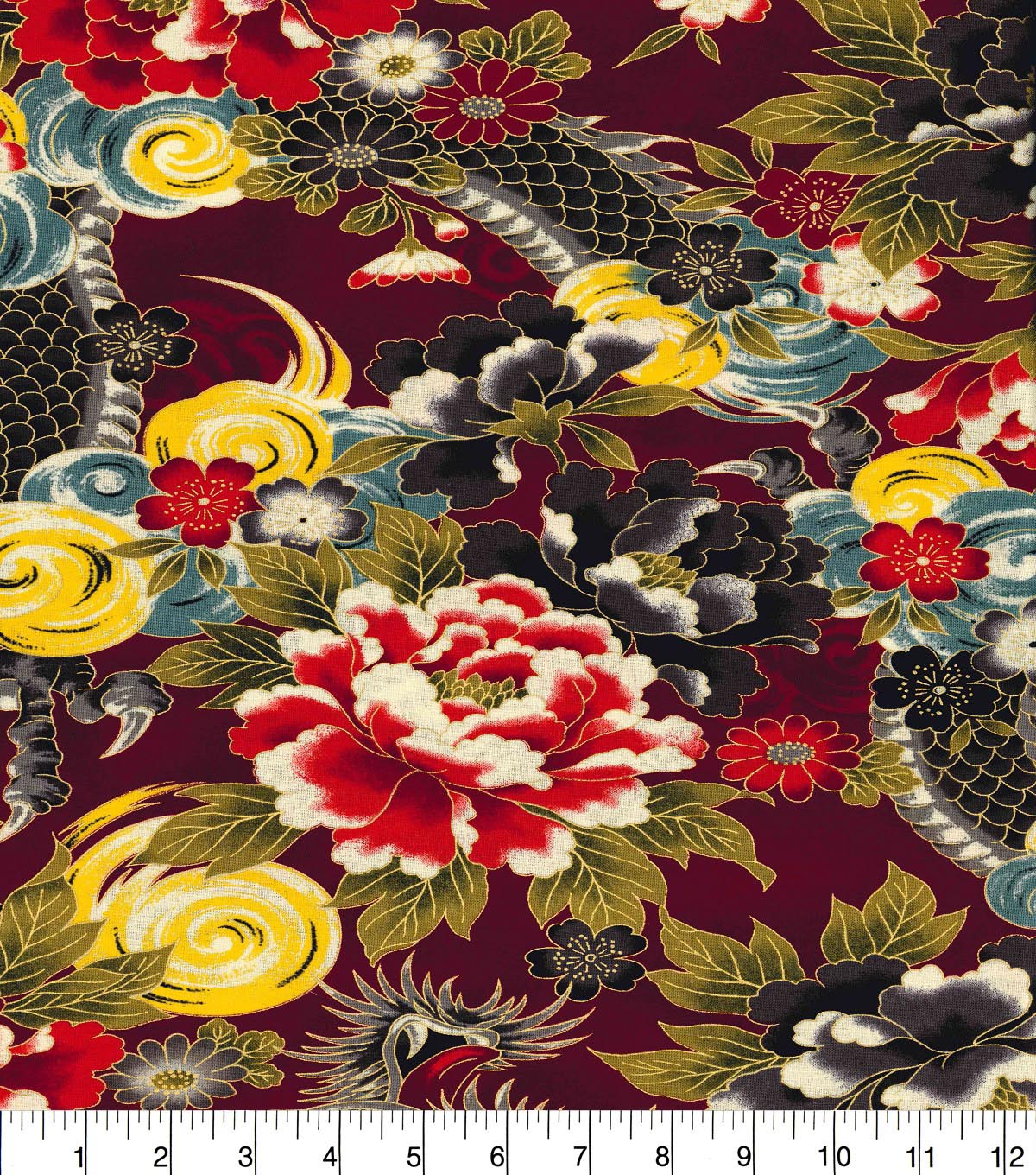 Asian Inspired Cotton Fabric 44\u0022-Mythical Dragon Metallic
