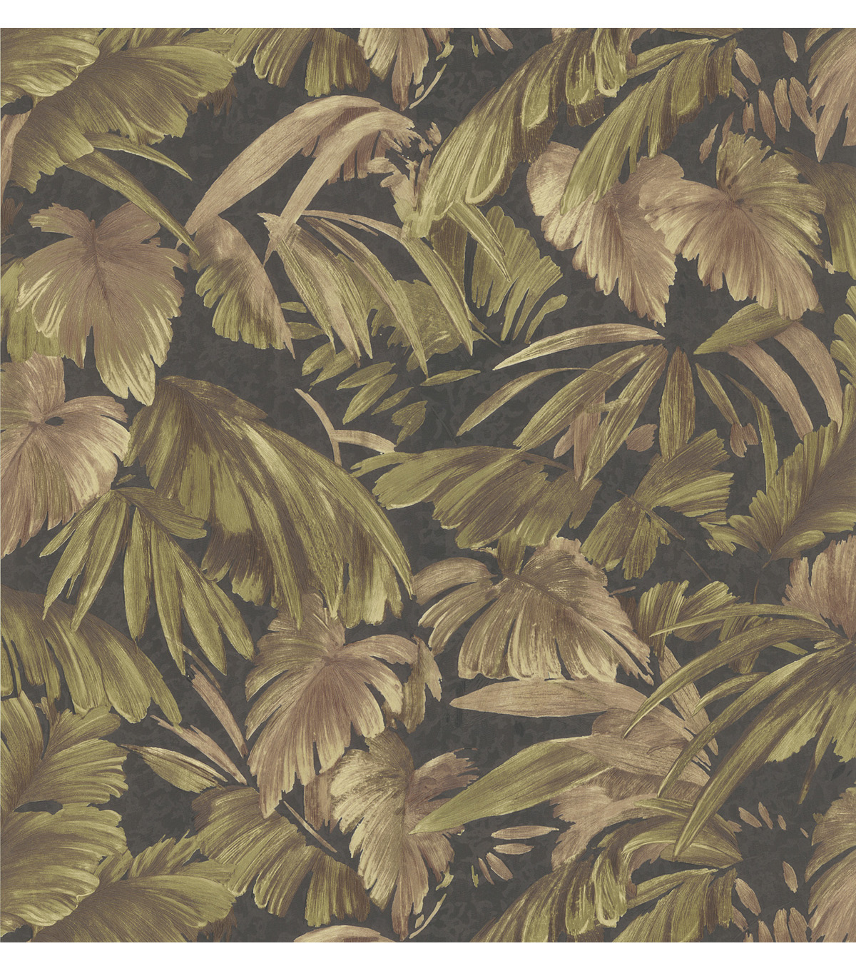 Delfino Black Leaves Wallpaper Sample