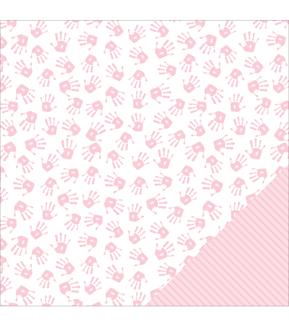 American Crafts Baby Girl Hands Double-Sided Cardstock