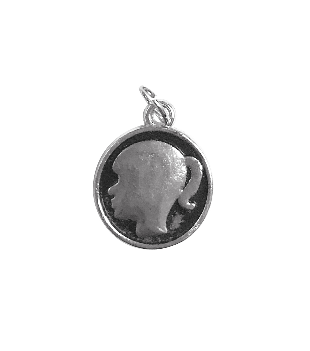 Blue Moon Beads Single Charm Girl Silhouette Silver